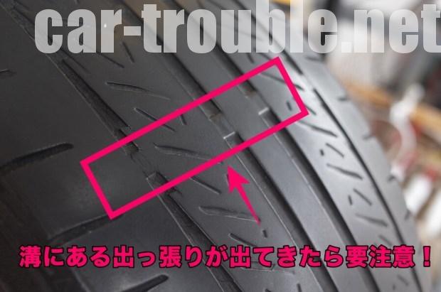 スリップサインが出ているタイヤも要注意